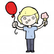 Boy with ice cream and balloon — Stock Vector