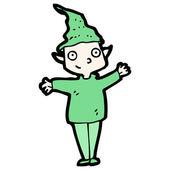 Happy christmas elf cartoon — Stock Vector