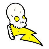 Cartoon crazy lightning skull — Stock Vector