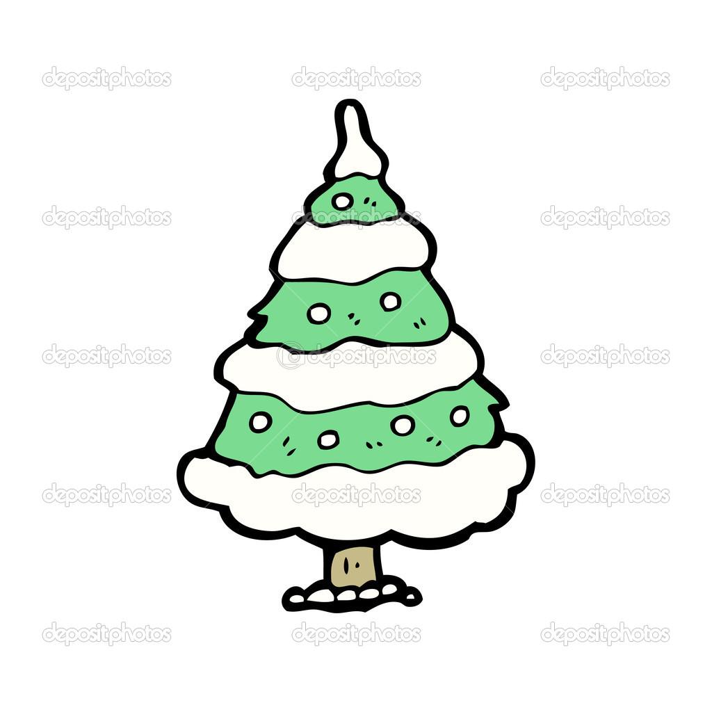 dibujos animados de rbol de navidad nevado u vector de stock u