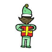 Caricatura de elfo de Navidad — Vector de stock