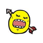 Smiley face shot with arrow cartoon — Stock Vector