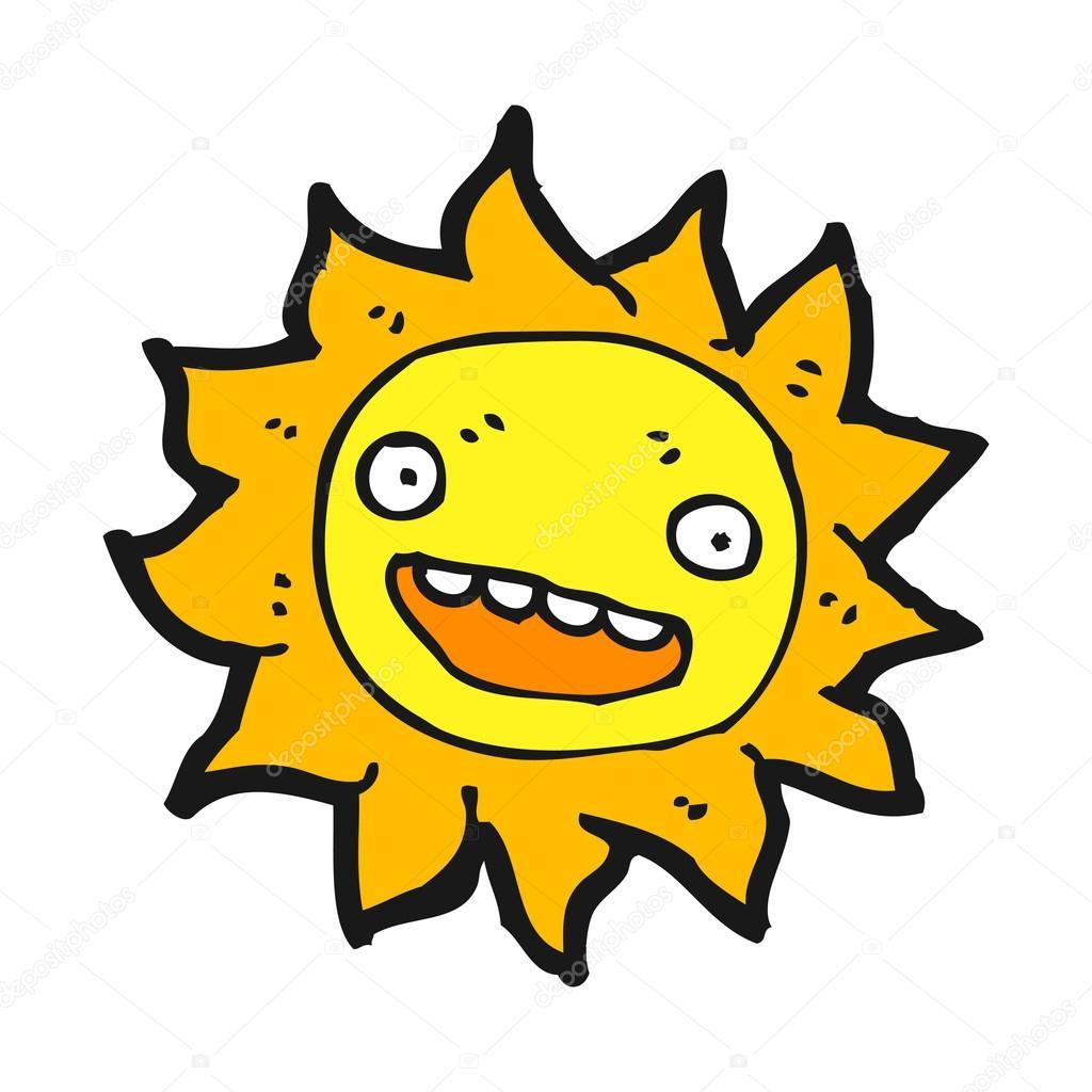 Cartone animato sole felice — vettoriali stock