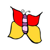 Child's drawing of a butterfly — Vettoriale Stock
