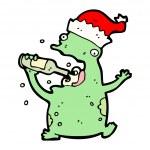 Christmas party frog cartoon — Stock Vector