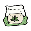 Stock Vector: Bag of weed cartoon