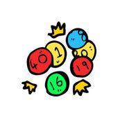 Lottery numbers cartoon — Stock Vector