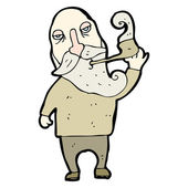 Old man smoking pipe cartoon — Stock Vector
