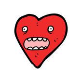 Shocked heart cartoon — Stock Vector