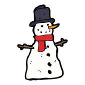 Happy snowman cartoon — Stock Vector