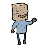 Paper bag on head cartoon — Stockvektor