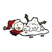 Melting Snowman Vector — Stock Vector