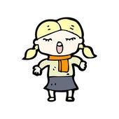 Singing girl cartoon — Stock Vector