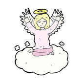 Angel sitting on the cloud — Stock Vector
