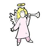 Angel blowing trumpet — Stock Vector