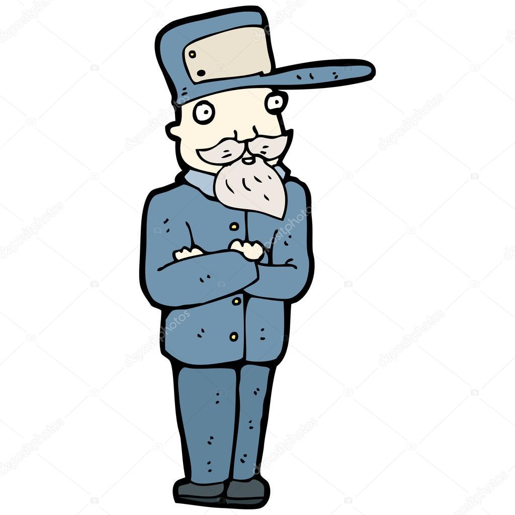 Cartoon Train Driver Man