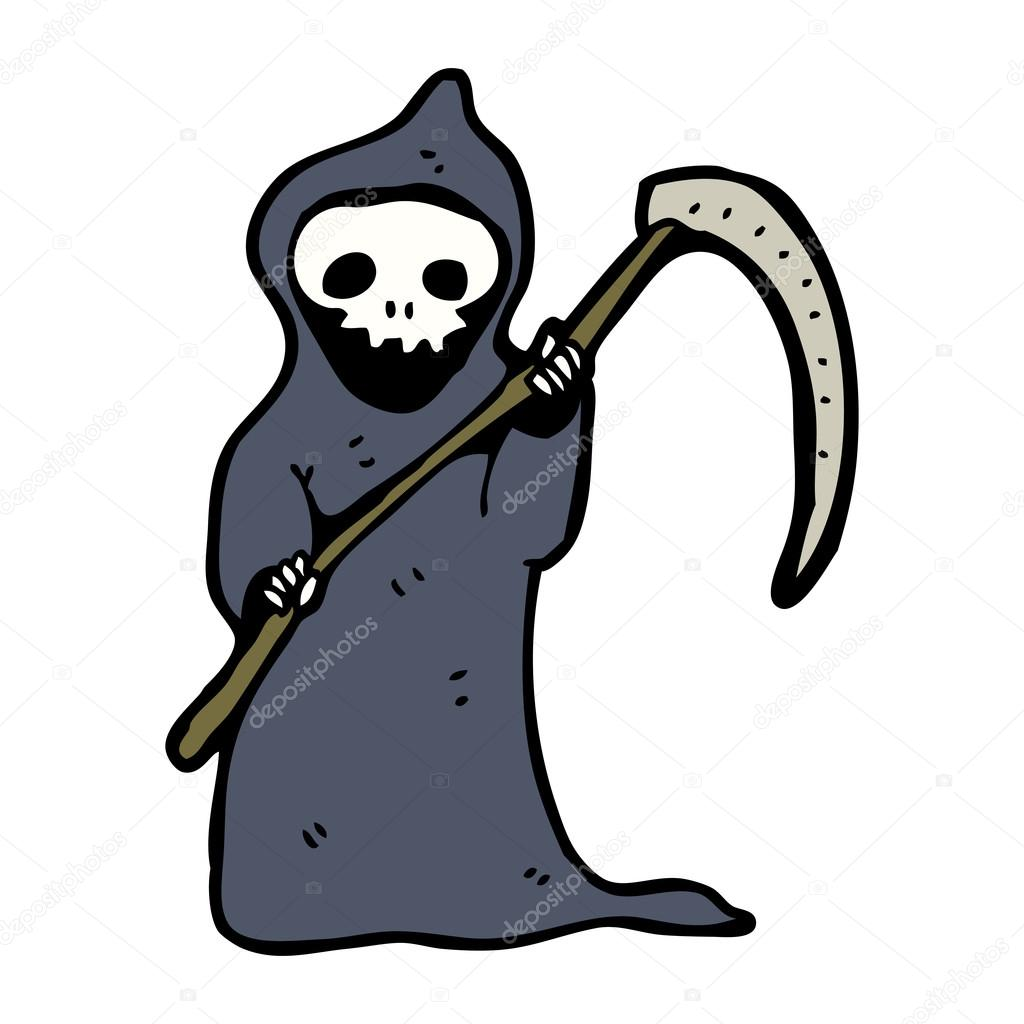 Cartone animato morte con falce — vettoriali stock