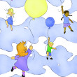 Kids balloon adventure - 图库照片
