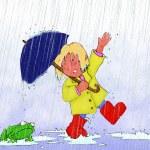Girl in rain with umbrella — Stock Photo