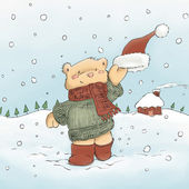 Cute bear waving hat in snow — Stock Photo