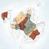 Cute bear making snow angel — Stock Photo