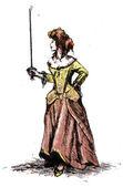 Aristocratic woman with sword — Stockfoto