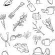 Doodles of garden tools and gardening things. — Stockvectorbeeld