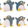 Cute cartoon Christmas penguins — Stock Vector