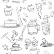 Stock Vector: Coffee shop doodles