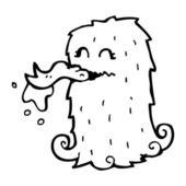 Green hairy monster cartoon — Stock Vector