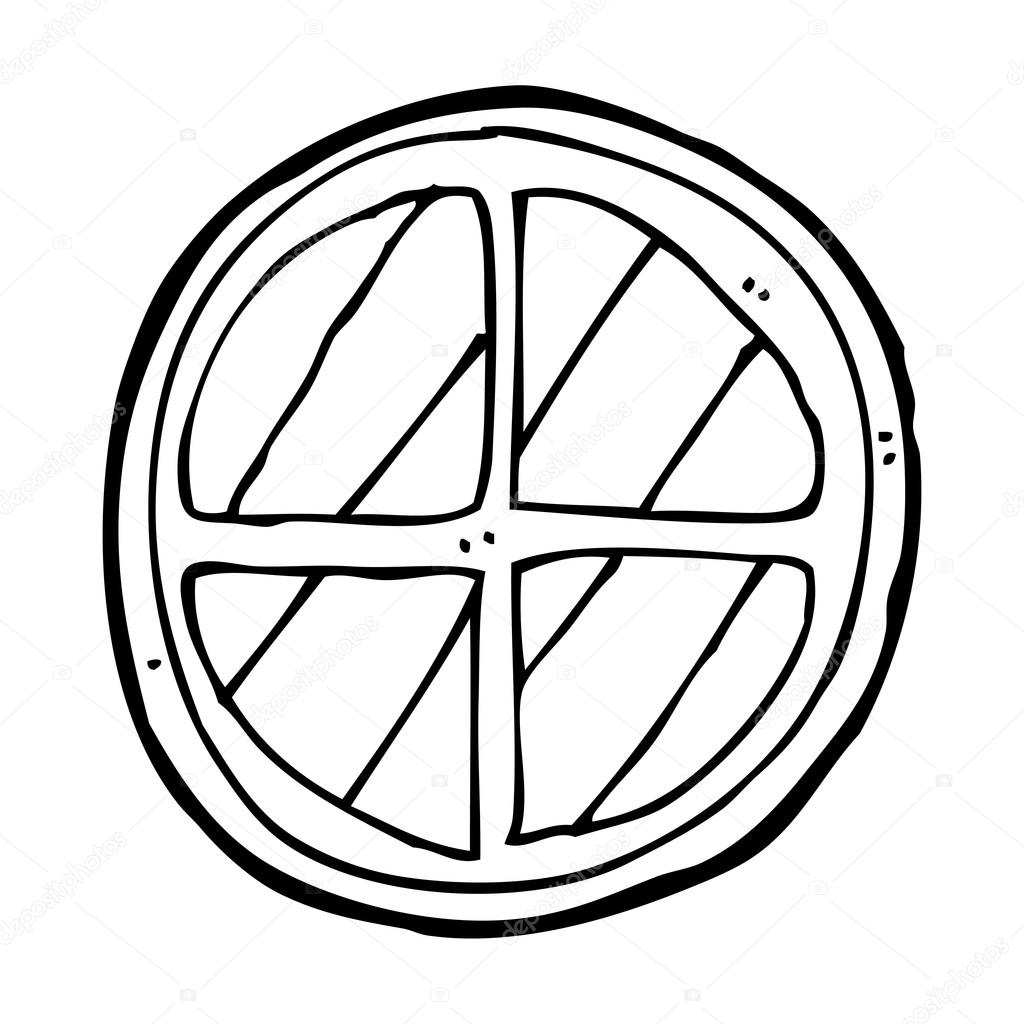 Cartoon Window Cartoon round window - stock