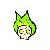Human Skull With Green Flames — Stock Vector
