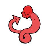 Cartoon of a red skull snake — Stock Vector