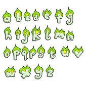 Flaming green alphabet set — Stock Vector