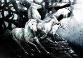 Running horses painting — Stock Photo