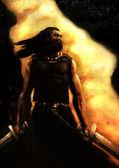 Fantasie warrior schilderij — Stockfoto