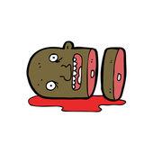 Gross severed head cartoon — Stock Vector