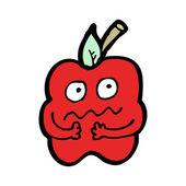 Nervous Red Apple Mascot — Stock Vector