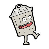 Cartoon rubbish bin — Stock Vector