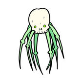 Cartoon of a skull with creepy legs — Stock Vector