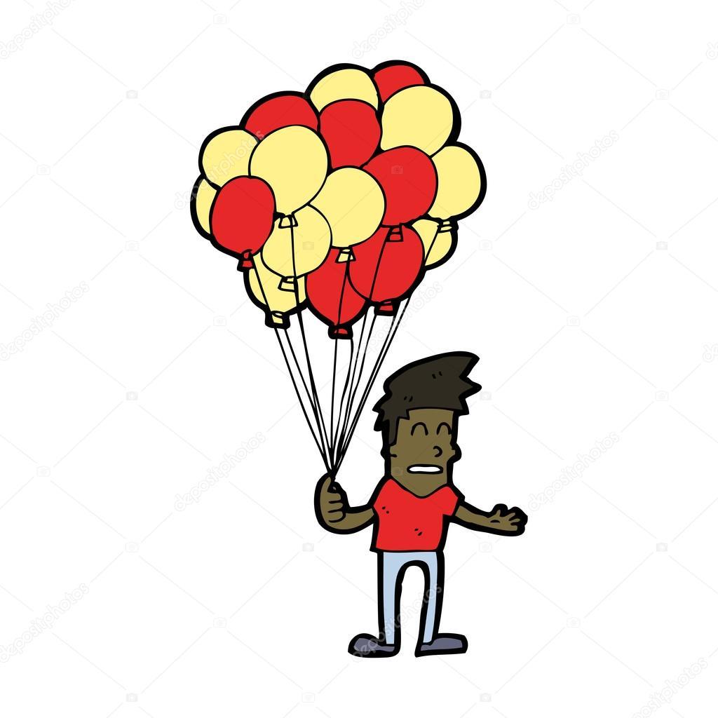Ragazzo di cartone animato con palloncini — vettoriali