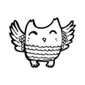 Flapping owl cartoon — Stock Vector