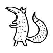Yawning fox cartoon — Stock Vector