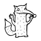 Waving wolf cartoon — Stock Vector