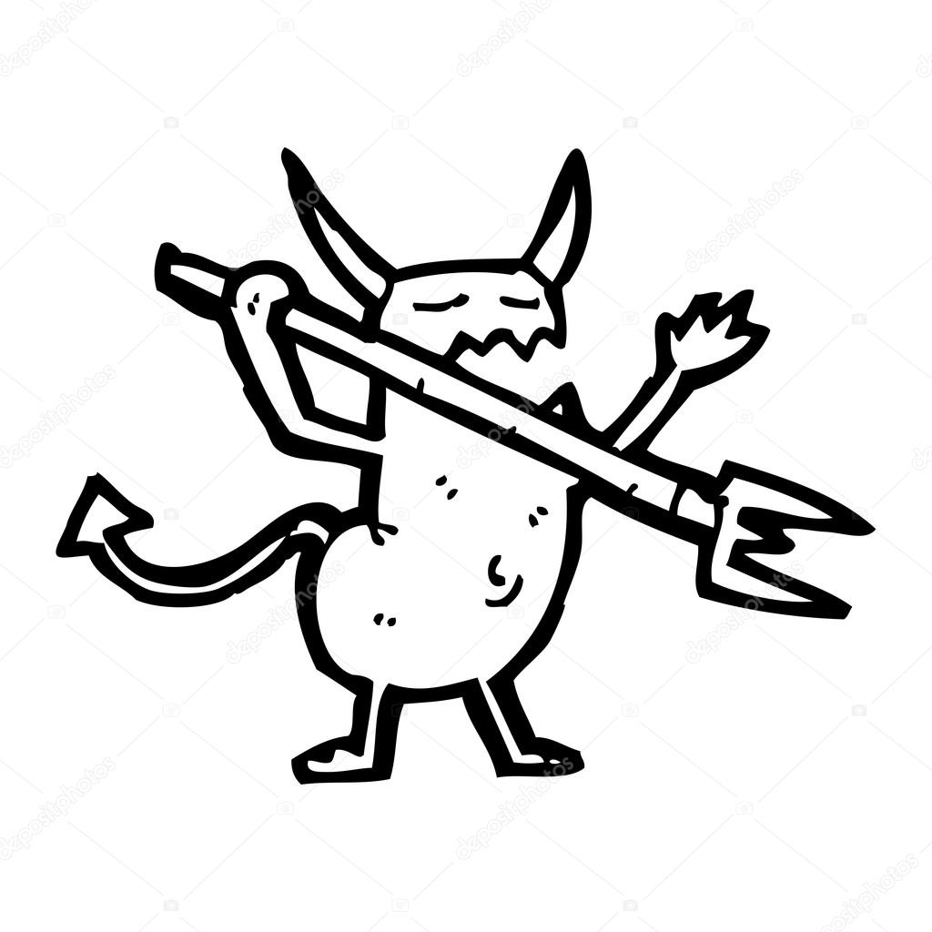 Vector, little devil cartoon on a white background  — Stock Vector #19764523