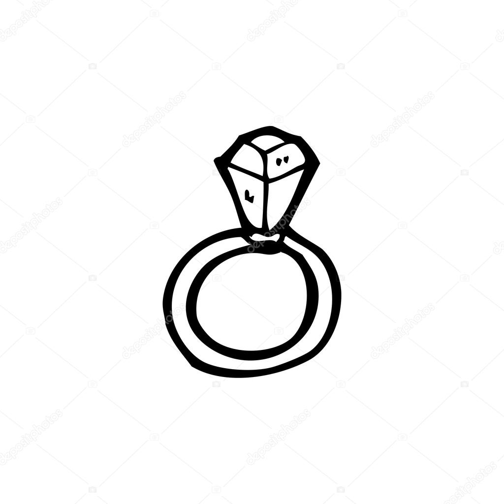 Vector, engagement ring cartoon on a white background  — Stock Vector #19764761