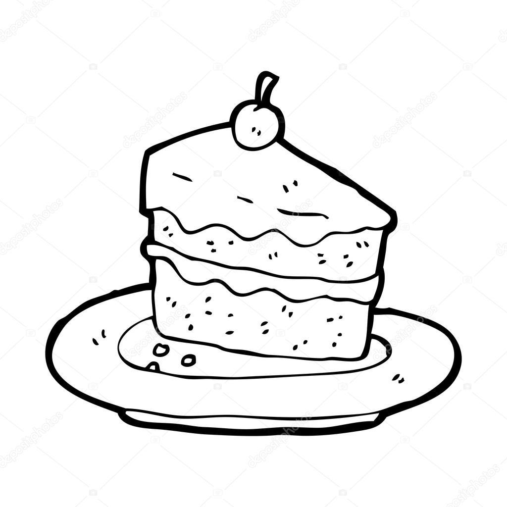 Stück Kuchen auf Teller-cartoon — Stockvektor ...