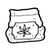 Bag of marijuana cartoon — Stock Vector