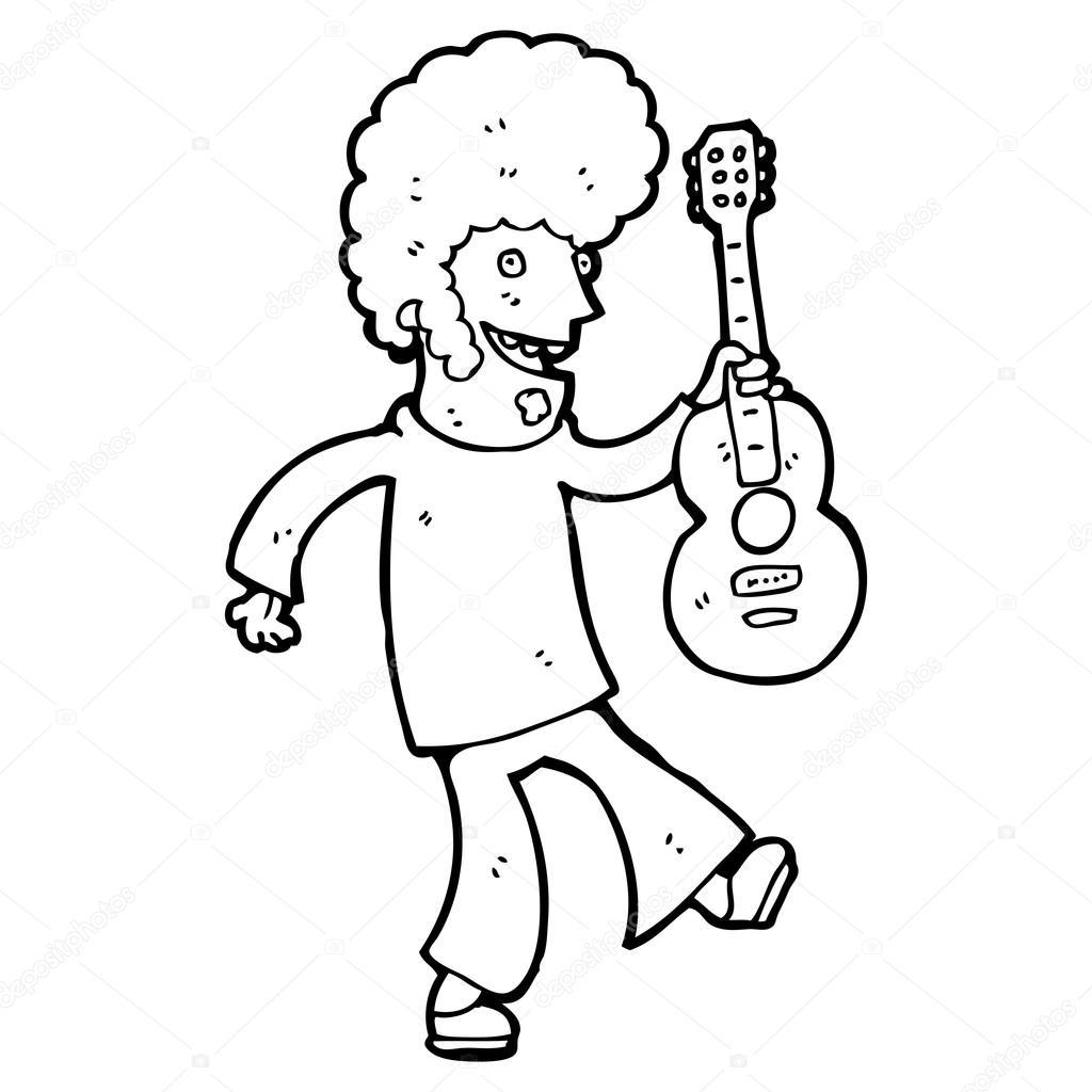 嬉皮的吉他玩家卡通