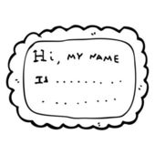 Friendly name badge cartoon — Vector de stock